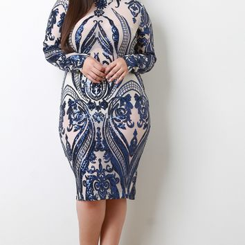 Floral Sequin Accent Mesh Long Sleeves Midi Dress