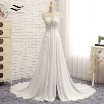 Sleeveless Chiffon Scoop Sweep Train Floor Length Zipper A Line Cap Sleeve Appliques Beach Wedding Dress Real Photos SL-W592