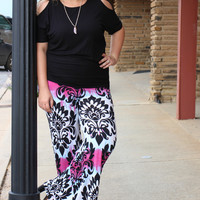 In The Zone Tie Dye Damask Print Palazzo Pants ~ Fuchsia ~ Sizes 12-18