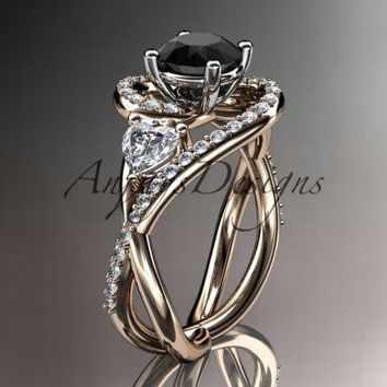 Unique 14k rose gold diamond engagement ring. Enhanced Black Diamond ADLR320