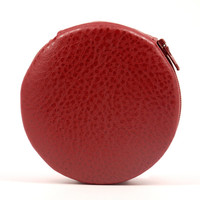Pebble Red Designer Round Zippered 7-Day Travel Pill Case Box Pretty Cute Faux Leather Gift