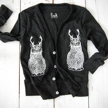 Childrens Wild Catalope Cardigan - in Heather Black button cardigan - cat sweatshirt antlers - by Simka Sol
