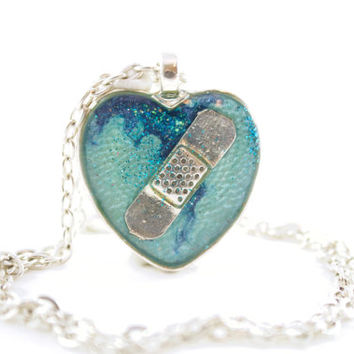 Aqua CHD Necklace, Teal Congenital Heart Defect Jewelry, Broken Heart, Blue Mended Heart Jewelry, New Mother, Teenage Gift, Sympathy Gift