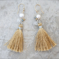 Boho Glam - Mixed metal 14k gold tassel earrings pearl & silver dangle Moonstone rondelle Chinese Asian Silk road Bohemian Neutral Beige