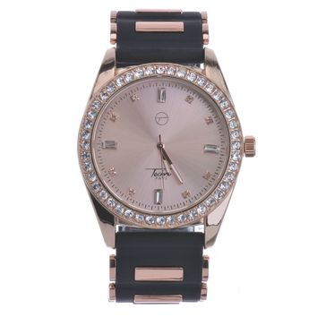Jewelry Kay style Men's Hip Hop Iced Out Bling Rose Gold Plated Bullet Band Watches WR 8242 RG