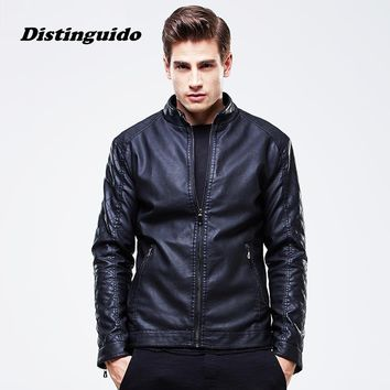 Men Black Red Brown Solid Casual Jackets Coat New Fashion PU Leather Jacket Trend Slim Fit Youth Motorcycle Suede Jacket MJK017