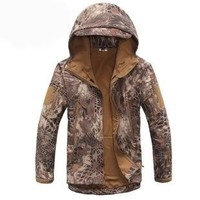 Winter Jacket  Jackets Outdoor Tactical Snake Camouflage Army  Military Waterproof Hiking Hunting Jackets Fleece Hooded Python Color