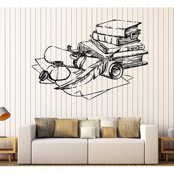 Wall Vinyl Decal Ancient Books Inkwell Pen Scroll Paper Interior Decor Unique Gift z4690