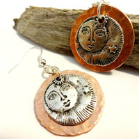 Sun and Moon Mystical Copper Dangle Earring, Mixed Metal Jewelry