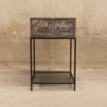 Vintage Industrial Polished Metal End Table - Side Table - Nightstand - Bedside Table - Industrial Furniture - Industrial Table
