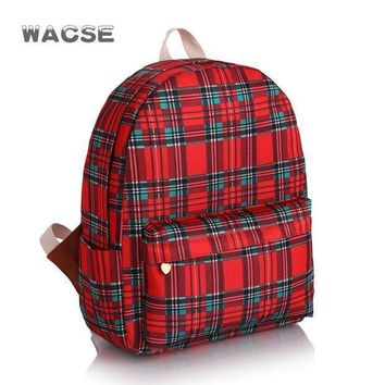 Stylish Korean Casual Fashion Canvas Plaid Backpack = 4887822532