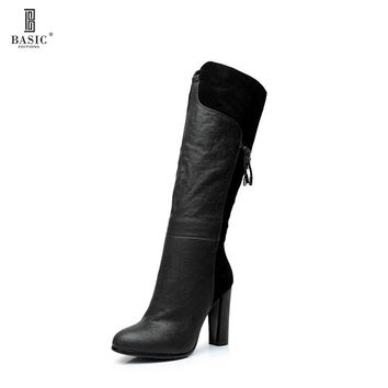 BASIC EDITIONS Spring Autumn Woman Genuine Leather Chunky High Heel Fashion Mid Calf High Boots - H806-H1446