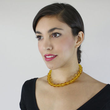 Vintage Yellow Glass Beaded Art Deco Necklace - Single Strand Crystal Faceted 1940s Costume Jewelry / Amber Sparkle