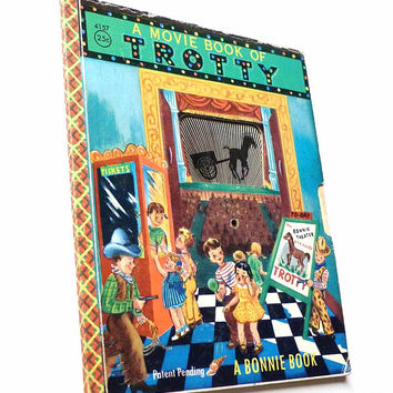 Vintage Mechanical Toy Book A Movie Book of TROTTY Bonnie Books No. 4157 by Elsie Church Illustrated by Margie Church Vintage