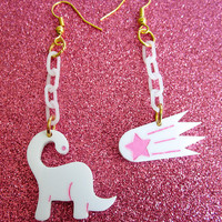 White x Pink Dooms Day Dinosaur Dangling Earrings Fairy Kei Pop Kei Decora Kawaii