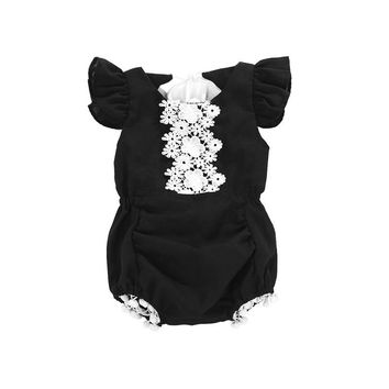 Toddler girls Baby clothes sleeveless Ruffle Geometry cotton Jumpsuit casual round neck tassels kids cute Bodysuit one pieces
