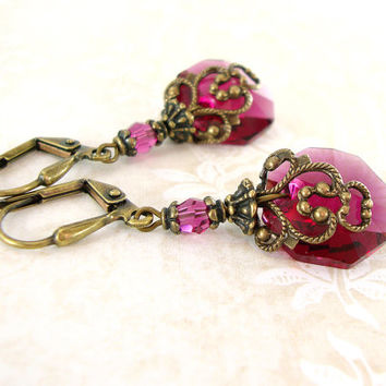 Fuchsia Swarovski Crystal Earrings - Victorian Earrings - Ruby Pink Renaissance Jewelry Vintage Inspired Bronze Antiqued Brass Filigree