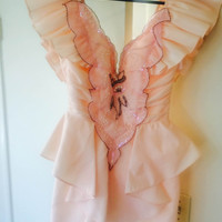 Vintage 80s Pale Pink, Peplum Prom Dress with Pearl & Sequin Applique, 'Climax' for David Howard by Karen Okada