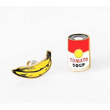 Pop Art Banana and Soup Can Mismatched Earrings