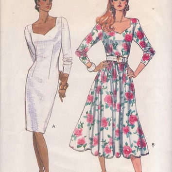 Vintage 1980s fitted dress pattern sweetheart neckline, long sleeves, straight or flared skirt misses size 12 14 6 Butterick 3613 UNCUT
