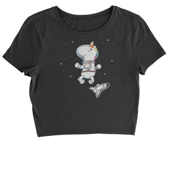 Unicorn Astronaut In Space Cropped T-Shirt