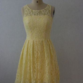 Silver Grey Light Yellow Lace Country Bridesmaid Dresses Short 2017 Scoop Wedding Party Dress Boho Bride Maid of Honor Dress