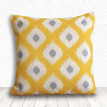 Ikat Pillow Cover, Pillow Cover, Pillow Case, Linen Pillow Cover 18x18 - Printed Ikat - 078