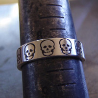skull ring sterling silver band with skulls mens jewelry - fresh from the bench collection