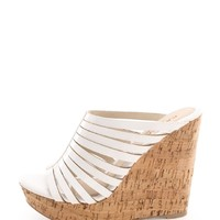 White Patent And Caged Cork Wedge Mules | $10.99 | Cheap Trendy Wedges Chic Discount Fashion for Wom