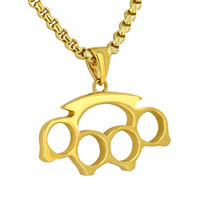 Brass Knuckles Pendant 18K Yellow Gold Plate Men Unique Style W/ Free Box Chain