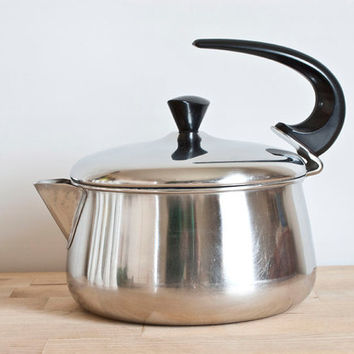Vintage Farberware Stovetop Tea Kettle Yonkers NY, Stainless Steel Teapot with Swoop Handle, Vintage Kitchen Cookware