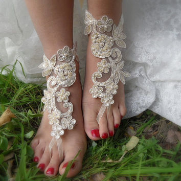 beach wedding,bridal shoes,champagne lace sandals,