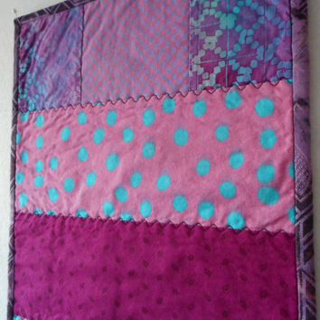 Pink Purple Quilted Table Runner, Handmade Dresser Scarf, Polka Dot pink quilt, modern dining decor, Kitchen table mat, fabric runner topper