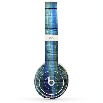 The Grungy Dark Blue Washed Wood Skin for the Beats by Dre Headphones (All Versions Available)