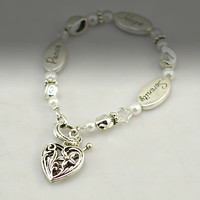 Free Shipping Silver Hope Faith Stamped Bracelet --b043