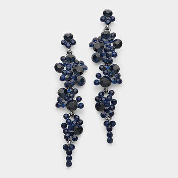 Flower Drop Earrings Navy Blue
