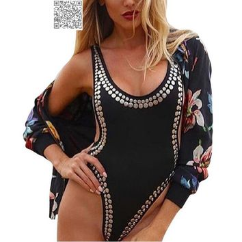 Rivet Women Sexy Push Up Monokini Swimwear Female Cut Out 1 Piece Swimsuit Sexy One Piece Swim Suit Backless Bathing Suit 2017