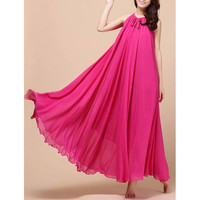Plum Sleeveless Chiffon Maxi Dress