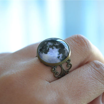 Full Moon Ring,Steampunk moon jewelry,adjustable ring, statement ring,Cosmic Universe jewelry (JZ001)