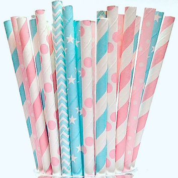 GENDER REVEAL Party Straws -50 Pink Blue Paper Straws for Baby Shower! Chevron, Stripes, Stars, Polka Dots