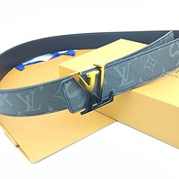 Louis Vuitton LV New Men's and Women's Printed Letter Double Buckle High-Top Belt