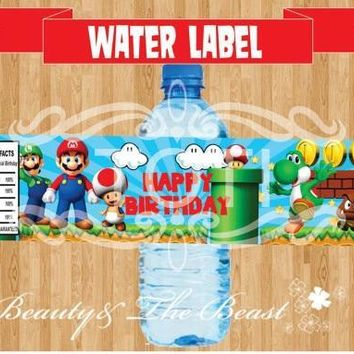 Super Mario party nes switch Customized Personalized  Bottle Water Labels Stick Party Wrappers Baby Shower Birthday Party Decoration Kids Supplies AT_80_8