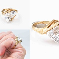 Vintage Diamonique 10K Yellow Gold & CZ Modernist Ring, Fancy Axe Cut, QVC, Cubic Zirconia, 5.4 Grams, Size 6, Fiery, Unique! #c608