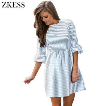 ZKESS White Striped Seersucker Women Skater Dress Pleated Flounce 3/4 Sleeved Brief Autumn Fashion Sweet Style LC220092