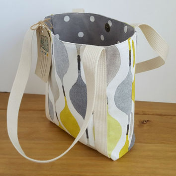 Small Tote Bag, Summer Lime Green and Grey Handbag, Womens Fabric Purse With Pocket,  Gift For Her, Small Beach Bag, Pool Bag, UK Shop