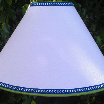 White Lampshade Coolie Shape Cotton Green Grosgrain Ribbon Blue Arrow Ribbon Trim Brass Washer top