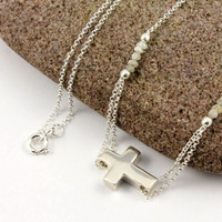 Large Sideways Cross Necklace with White Rough Diamonds - Sterling Silver - One Of A Kind, Unique Design, New Trend