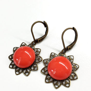 Round Orange Earrings Flower Earrings Bridal Earrings Dangle Earrings Spring Summer Earrings