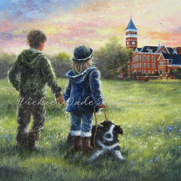 Clemson Kids Art Print young lovers, couple holding hands, border collie, Clemson University North Carolina paintings, Vickie Wade art