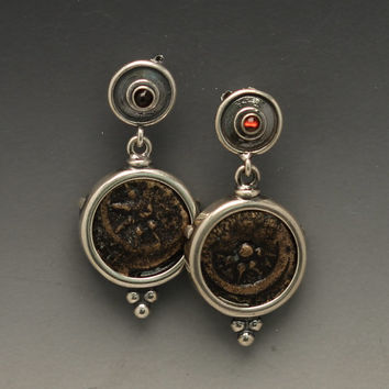 ancient coin earrings with authentic widow's mite coins, sterling silver earrings with authentic widow's mite coins